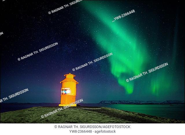 Lighthouse and the Aurora Borealis, Snaefellsnes Peninsula, Iceland
