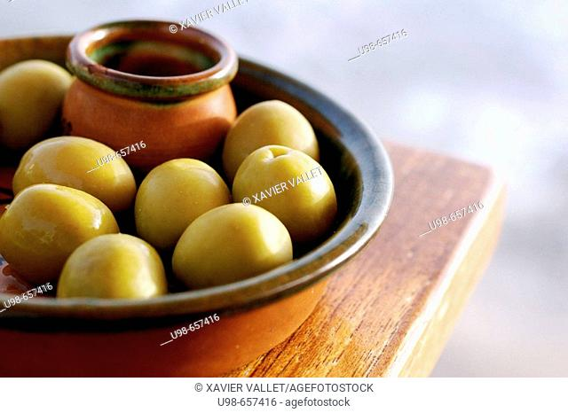 Olives, 'tapa' from Formentera. Balearic Islands, Spain