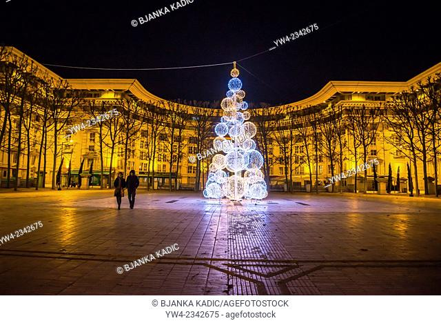Antigone district at nigth with Christmas tree, Montpellier, France