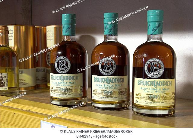 Three bottles of Bruichladdich-Whisky in the distilleries shop, Isle of Islay, Scotland