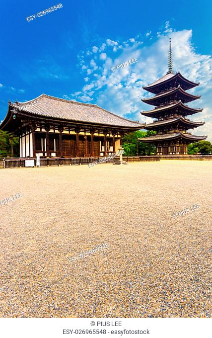 The front of the East Golden Hall, To-kondo, and five story pagoda, Goju-no-to, on beautiful blue sky day at Kofuku-ji Temple in Nara, Japan
