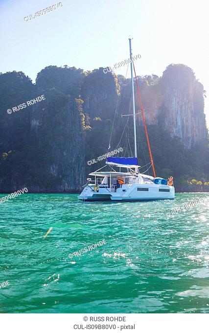 Yacht by island, Koh Roi, Thailand, Asia