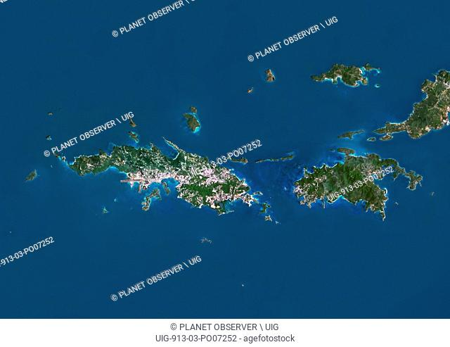 Satellite view of Saint Thomas and Saint John, US Virgin Islands. This image was compiled from data acquired by Landsat satellites