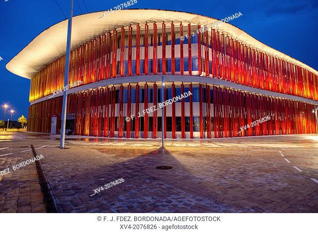 Pavilions of Expozaragoza in the night, Saragossa, Aragón, Spain