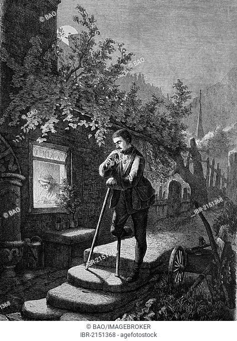 Disabled war veteran returning home, historical engraving, 1869