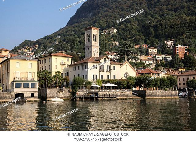 Beautiful view on resort town Torno from Lake Como, northern Italy, Europe
