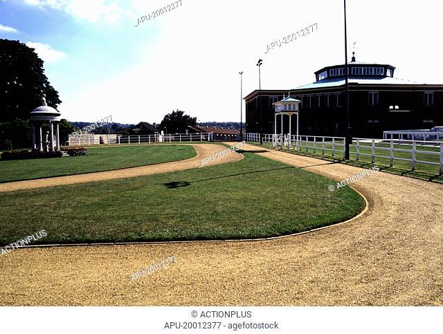 Parade ring at horse racing track