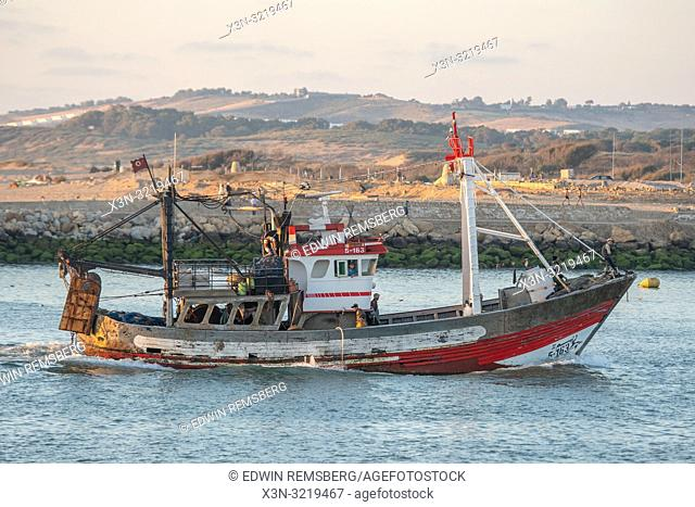 Boat in the Waters of the North Atlantic Ocean off the Coast of Larache, Morocco