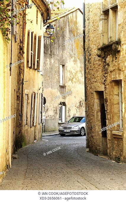 medieval street and Mercendes Benz, La Reole, Gironde Department, Aquitaine, France