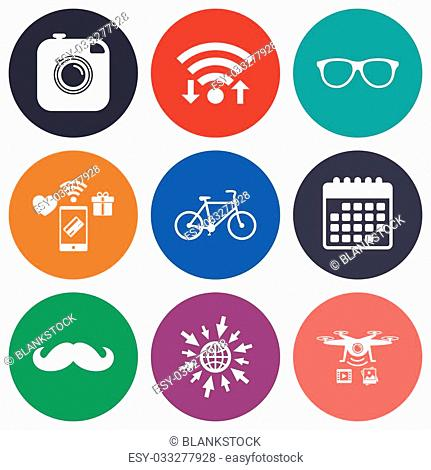 Wifi, mobile payments and drones icons. Hipster photo camera with mustache icon. Glasses symbol. Bicycle family vehicle sign. Calendar symbol