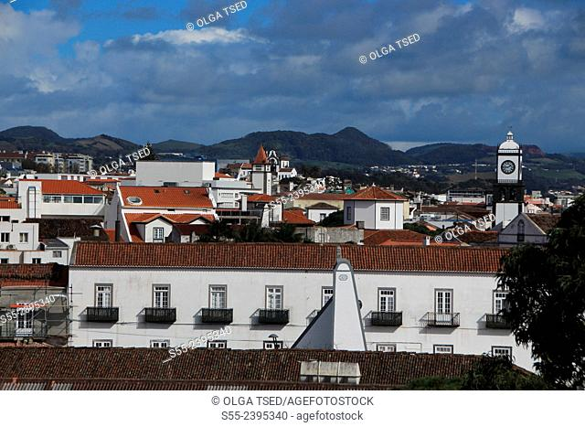 View over Ponta Delgada, the capital of Azores Islands. Sao Miguel island, Azores, Portugal