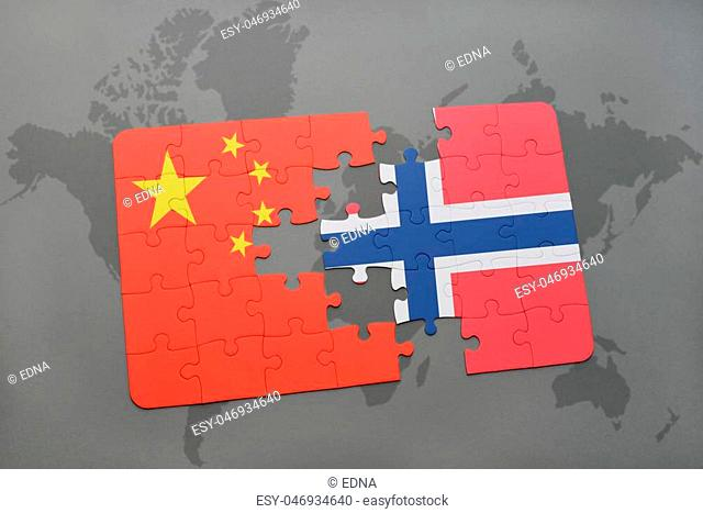 puzzle with the national flag of china and norway on a world map background. 3D illustration