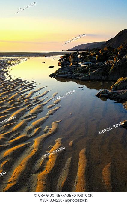 Sunset at Sandymouth beach, Cornwall, England