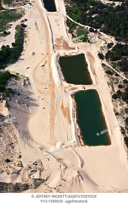 Aerial view of sand mine near Ludington State Park and Lake Michigan, Michigan, USA