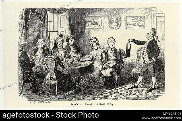 May - Restoration Day from George Cruikshank's Steel Etchings to The Comic Almanacks: 1835-1853 - 1839, printed c. 1880 - George Cruikshank (English