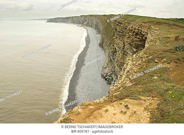 Steep coast, Nash Point, Glamorgan Heritage Coast, Wales, Great Britain, Europe
