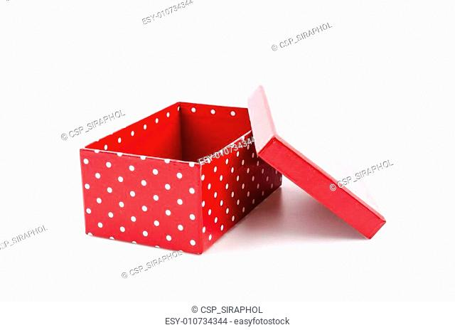 Red gift box isolated white background