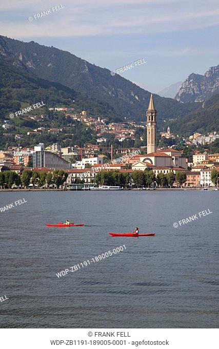 Italy, Lombardy, Lake Como, Lecco, View of Town & Lake