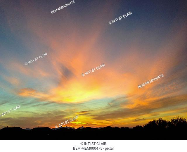 Dramatic clouds over rural landscape, Tucson, Arizona, United States