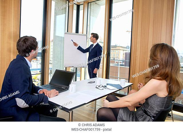 Businessman leading a presentation at flip chart