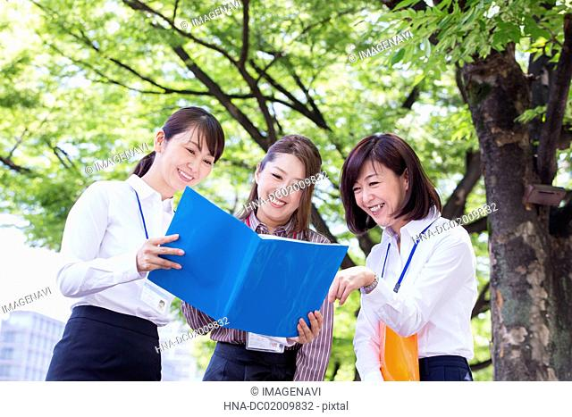 Business women seeing the file