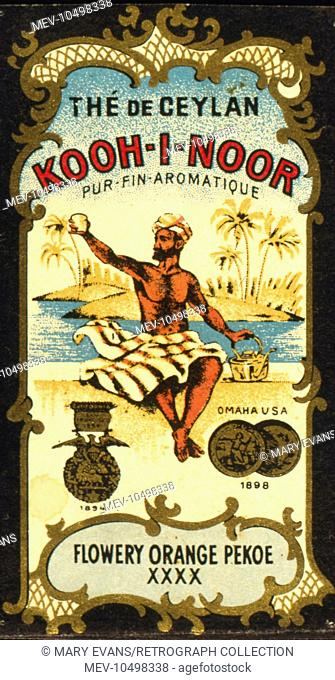 Advertisement for Kooh-I-Noor Tea from Ceylon (Sri Lanka), Flowery Orange Pekoe XXXX, showing a man in a turban with a cup of tea