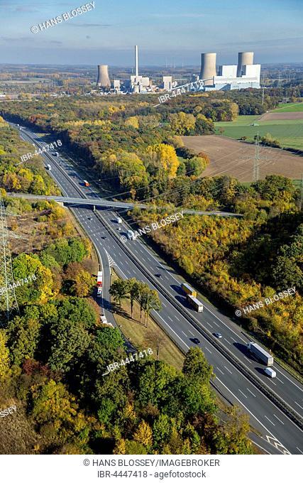 Westfalen power plant, RWE Power, INNOGY, coal power plant, nuclear power plant, highway A2, Hamm, Ruhr district, North Rhine-Westphalia, Germany