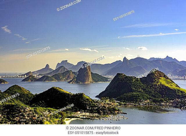 View of Rio de Janeiro, Guanabara bay, Sugarloaf hill and others montains from Niteroi city park
