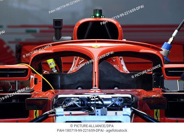 19 July 2018, Hockenheim, Germany: Motorsport: Formula 1, World Championship, German Grand Prix. The cockpit of Germany's Sebastian Vettel's car from team...