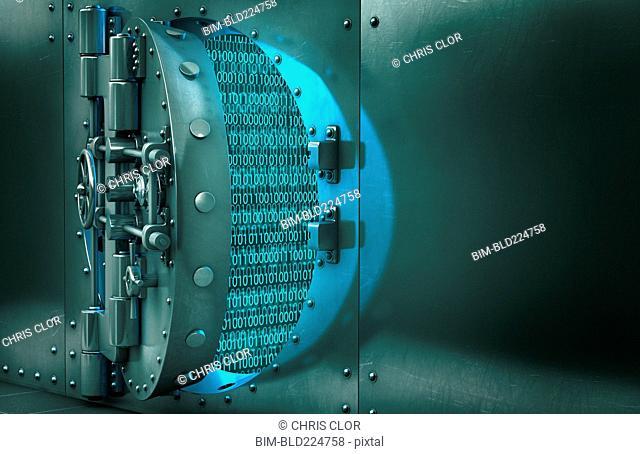 Open vault door revealing binary code