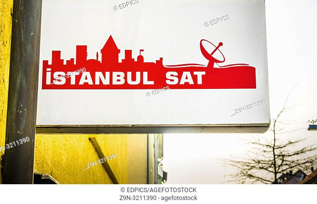 sign of a turkish satellite receiver provider in heilbronn, baden-wuerttemberg, germany