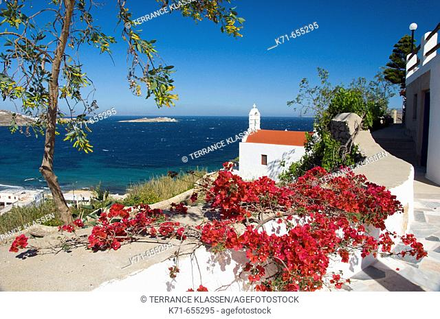 Churches and chapels in Hora or Mykonos town on the Greek Island of Mykonos, Greece