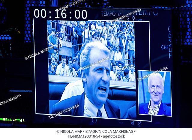 Photos of Soccer Coach Giovanni Trapattoni during the tv show Che tempo che fa, Milan, ITALY-18-03-2018