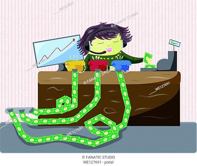 Female customer service representative working in office