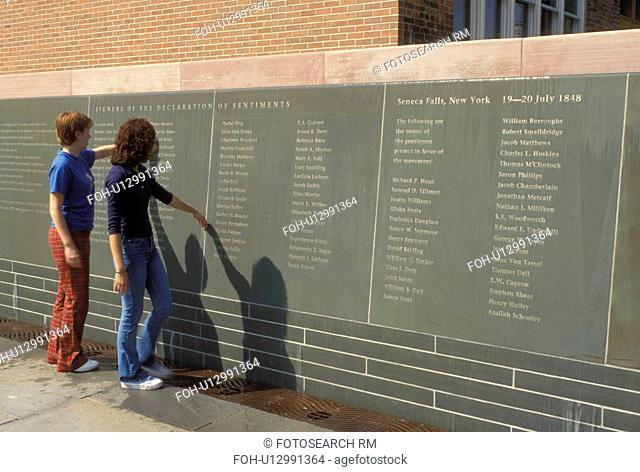 Seneca Falls, NY, New York, Finger Lakes, Wall of Signers the Declaration of Sentiments at the Women's Rights National Historical Park in Seneca Falls