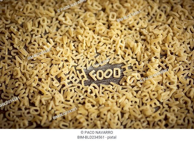 Alphabet noodles spelling food