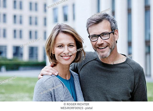 Portrait of happy mature couple outdoors