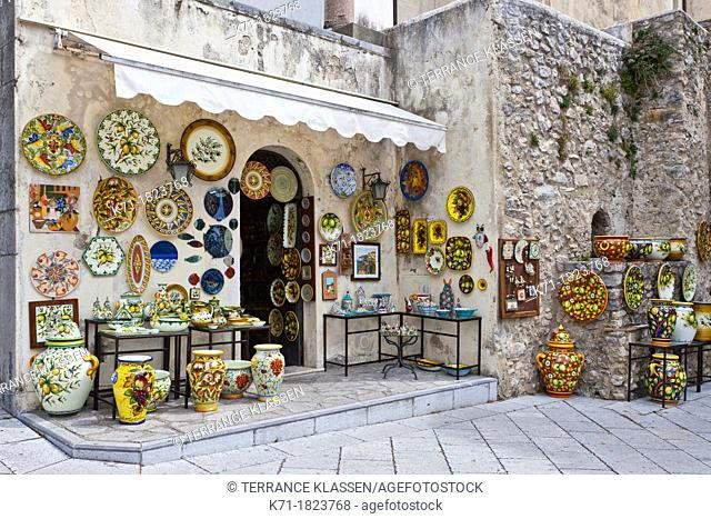 A shop selling ceramics in the village of Ravello, Italy