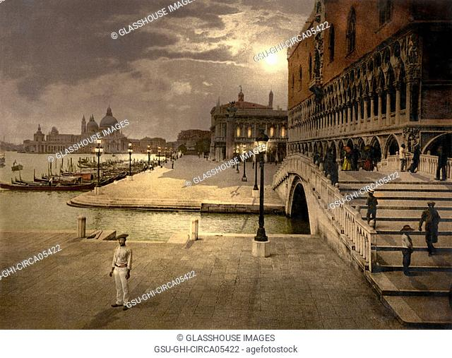 Doge's Palace and St. Mark's by Moonlight, Venice, Italy, Photochrome Print, Detroit Publishing Company, 1900