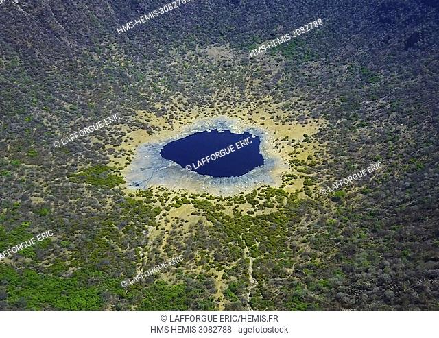 Ethiopia, Oromia, El Sod, Aerial view of the volcano crater where borana tribe men dive to collect salt