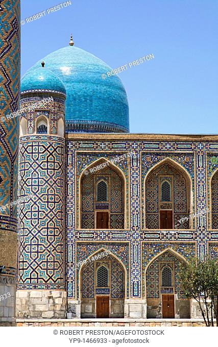 Uzbekistan - Samarkand - architectural detail of the Tilli-Kari Medressa, part of the Registan