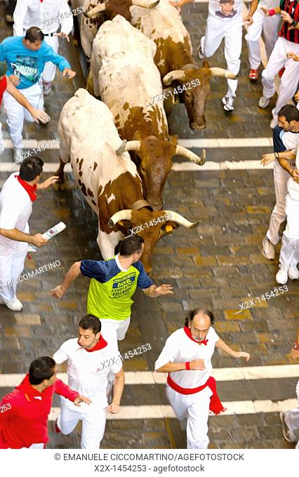 Runnng of the bulls, San Fermín street-partying, Pamplona, Navarra Navarre, Spain, Europe