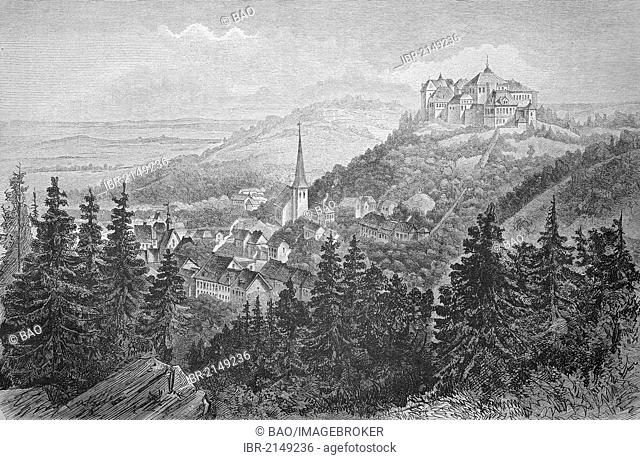 Castle with the town of Blankenburg in the Harz region, Saxony-Anhalt, Germany, historic woodcut, c. 1880