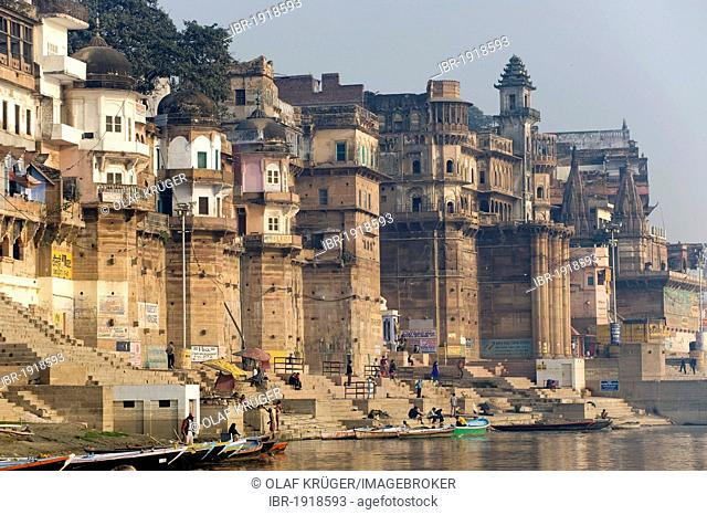 City view with Ghats or Holy Stairs, Ganges river, Varanasi, Uttar Pradesh, India, Asia