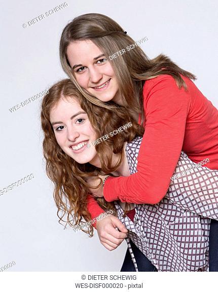 Portrait of young women having fun, smiling