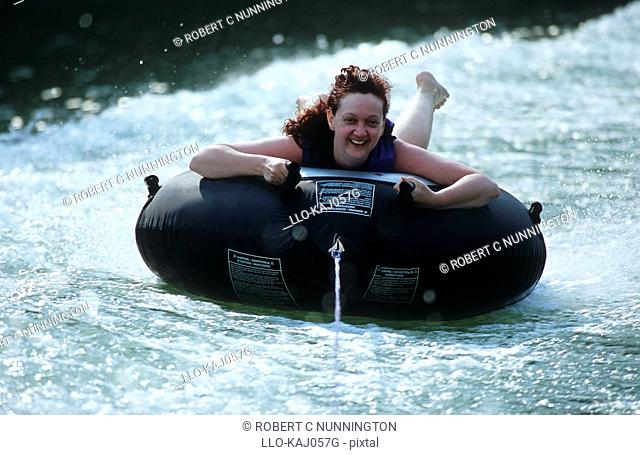 Portrait of a Woman Tubing  Lake Cumberland, Kentucky State, United States of America
