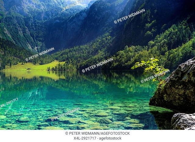 View of the Obersee Lake in the Berchtesgaden National Park, Salet am Koenigssee, Bavaria, Upper Bavaria, Germany, Europe