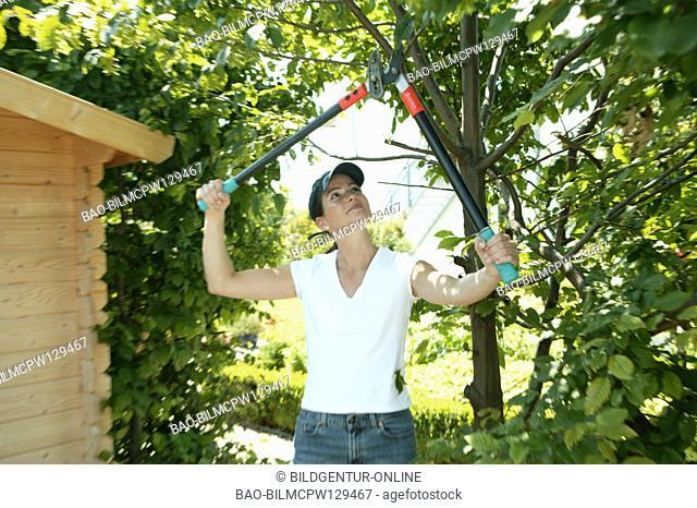 Woman in the garden, at the garden work