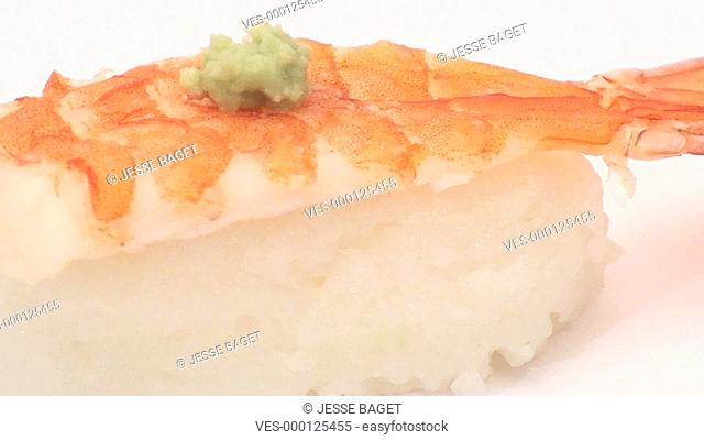 sushi single shrimp isolated on white loop