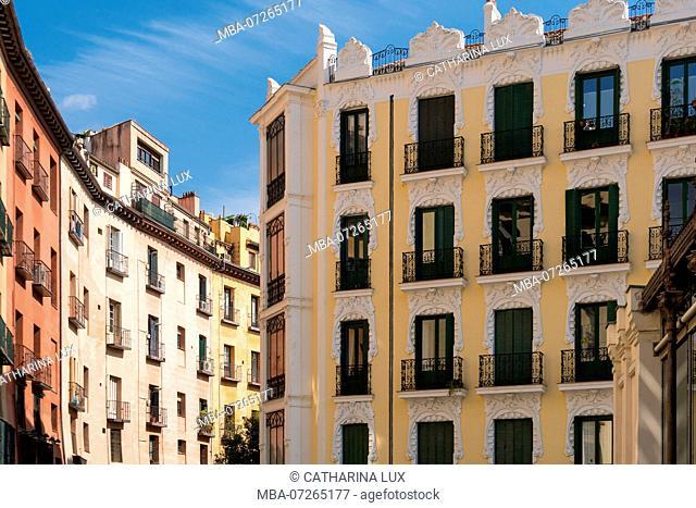 Madrid, Centro, Calle Cava de San Miguel, Art Nouveau / Jugendstil facades